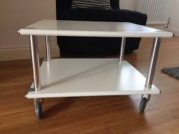 industrial style metal white heavy duty low table side table coffee table on wheels