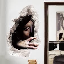 halloween ghost 3d broken wall art sticker black on 3d wall art woman with 2018 halloween ghost 3d broken wall art sticker black in wall