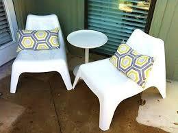 Bargain ikea pair 2 ps vago white plastic stackable outdoor indoor