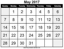 May 2017 calendar template - Free-printable-calendar.com