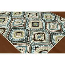 8 x 10 Large Aqua Blue, Brown & Gold Area Rug - Capri | RC Willey Furniture  Store
