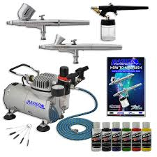 new 3 airbrush kit 6 primary colors air compressor dual action createx hobby set