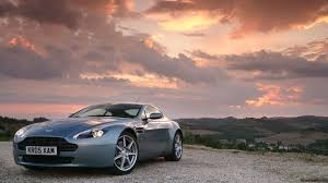 Aston Martin Vantage Side View Sunset Wallpaper