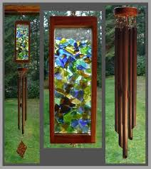 wind chime beach glass stained glass aged copper