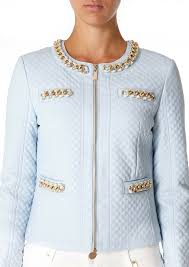 forever unique eva pale blue quilted gold chain formal smart jacket coat 8 10