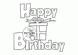Small Picture Happy Birthday with Gift Card coloring page for kids holiday
