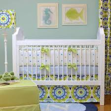 turquoise crib bedding with light blue wall