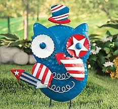 patriotic owl metal yard art statue or wall decor on patriotic outdoor wall art with amazon patriotic owl metal yard art statue or wall decor