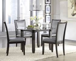 ... Classy Design Ideas Of Modern Dining Chairs With Black Wooden Armless  Grey Color Leather Seats Also Kitchen Dining Greatern Tables ...