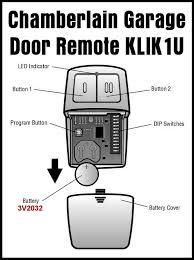 er universal 2 on garage door remote klik1u parts identification
