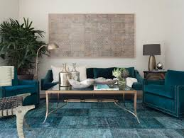 view in gallery teal blue overdyed rug in an eclectic living room