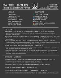 Resume Daniel Boles 3d Artist