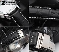 16mm 18mm 19mm 20mm 21mm 22mm 24mm mens watch band black genuine leather watch strap erfly deployment clasp