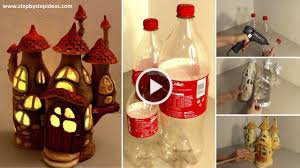home best out of waste how to make fairy house lamps from plastic bottles