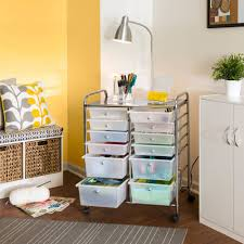 rolling carts for office. Rolling Cart 12 Drawer Storage Clear Scrap Booking Home Office Art Studio White #CabinetsHome Carts For