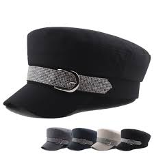 Hats With Lights In Visor Us 4 94 25 Off Fashion Retro Military Hat Autumn Winter Women Cap Rhinestone Belt Buckle Hat Flat Top Female Travel Hat Captain Solid Hat Gh6 In