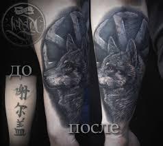 волк в стиле реализм фото тату на предплечье Tatuirovkiinfo