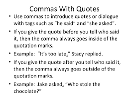 Comma With Quotes Rule And Grammar Practice 10 16 14