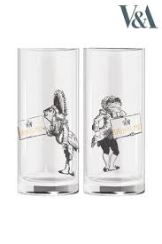 set of 2 v a alice in wonderland shot glasses