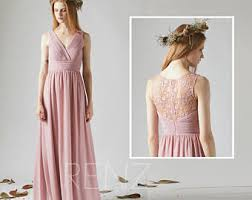 bridesmaid dress dusty rose v neck wedding dressspaghetti