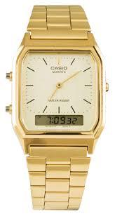 mens casio watches truffleshuffle gold retro dual time watch aq 230ga 9dmqyes from casio