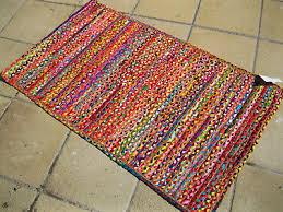 multi colour jute rag rug cotton braided striped recycled shabby chic fair trade