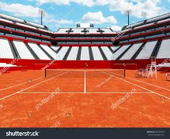 3d render of beautiful modern tennis clay court stadium with white chairs for fifteen thousand fans