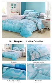 unique ice blue erflies flying bedding set turquoise reactive printing cotton 4 pieces duvet cover beautiful comforter set aliexpress