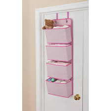 new nursery closet door 4 pocket hanging wall toy storage organizer pink