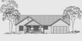 house front color elevation view for 10004 single level house plans ranch house plans