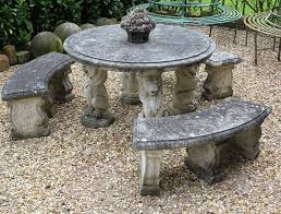reconstituted stone round garden table and bench set save garden stone tables for