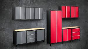 black metal storage cabinet.  Metal Gray And Red Color Painted Metal Garage Storage Cabinet Door Design With  Wood Countertop Table Ideas Black