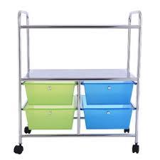 rolling office cart. Goplus 4 Drawers Rolling Storage Cart Metal Rack Shelf Home Office Furniture 2 Shelves