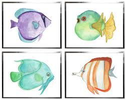tropical fish watercolor decorative wall art