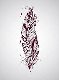 Ručně Tažené Tetování Pírko Stock Vektor Makarovaalex 44354835