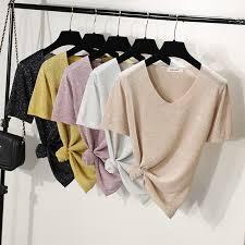 <b>Banulin Summer</b> Knitted Sweater Shirt <b>Women</b> Casual Short ...