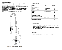 Kitchen Faucet Installation Instructions Pull Down Kitchen Sprayer Faucet