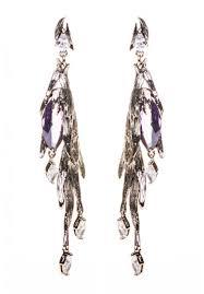 aigle amethyst and swarovski crystal gold long pendant earrings