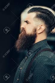 長いひげと口ひげを持つ若いハンサムなひげを生やした男の横顔の肖像画は