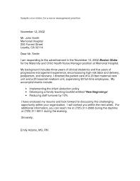 Sample Cover Letter For Job Application For Nurses Sample Cover