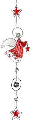 Fensterhänger Engel Mit Stern Tiffany Art Zum Hängen Fensterdeko Weihnachten Rot Und Weiß Acryl 14x56 Cm