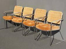 R Four Vintage Mid Century Modern Rattan Back Chrome U0026 Orange Velvet Dining  Chairs