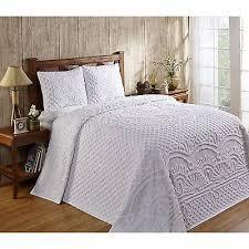 Bedspread king size & Trevor White Chenille Bedspread King Size Cotton 3 Piece Bedding Adamdwight.com