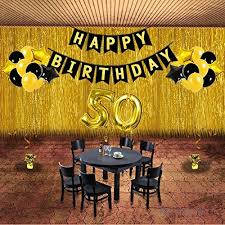 50th birthday party decorations kit gold black star balloons happy birthday banner number 50 big foil balloons golden ribbon