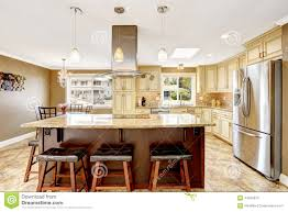 Kitchen Islands With Granite Top Beautiful Kitchen Island With Granite Top And Hood Stock Photo