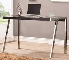 contemporary writing desk with wooden top in high gloss black