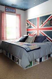 fabulous color cool teenage bedroom. Fabulous Small Teenage Boy Bedroom Design With Cool British Flag Decor And Cozy Bed Gray Bedding Bookshelves Under Also Pink Window Curtains Color O