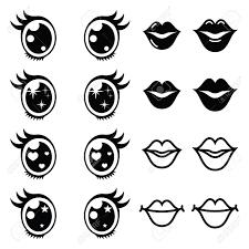 かわいいかわいい目と唇アイコン セットかわいい文字