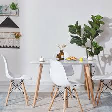 Weiß Rechteckiger Esstisch Und 4er Set Stühle Mit