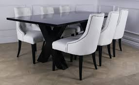 black wood dining chair. Terrific White Leather Dining Chairs Surrounding Black Wooden Table Above Floor Wood Chair